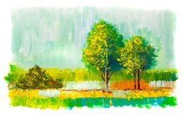 Oil painting colorful  trees. Royalty Free Stock Photography