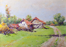 Oil Painting - Country Landscape Royalty Free Stock Image