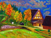 Oil Painting - Countryside vector illustration
