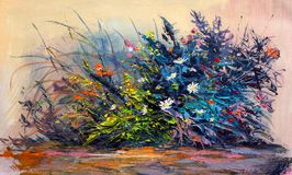 Oil Painting daisies flowers  in the garden. Oil painting  flowers , cornflower, daisy in fields. Impressionist style Royalty Free Stock Photography