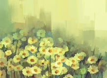 Oil painting daisy-chamomile flowers field. Vintage color style Royalty Free Stock Photography