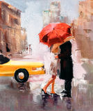 Oil Painting - Dating Couple Royalty Free Stock Photo