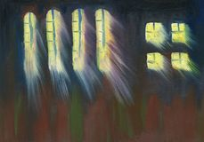 Divine light going through the window of the cathedral. Oil Painting. Divine light going through the window of the cathedral on a dark night. Rough brush strokes royalty free illustration