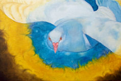 Oil painting of dove flying on the sky with fire around the wings. Stock Images