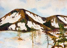 Early spring in the North. Oil painting. Early spring in the North Royalty Free Stock Images