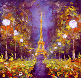 Oil painting - Eiffel Tower in night France by Rybakow Stock Photos