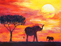 Oil Painting - Elephant Stock Images