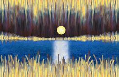 Fantastic abstract landscape with a lake and rising full moon. Oil Painting. Fantastic abstract landscape with a lake and rising full moon. A shining night sky Stock Photo