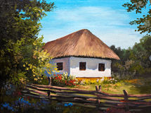 Oil Painting - Farmhouse in the forest. Sunshine Royalty Free Stock Photos