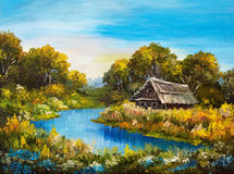 Oil Painting - Farmhouse near the river, river blue, blue sky. Summer forest, green field full of flowers, beautiful Stock Photos