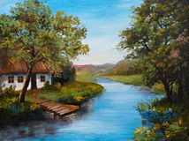 Oil Painting - Farmhouse near the river, river blue, blue sky. Summer forest, green field full of flowers, pier near river, outdoor; wallpaper Royalty Free Stock Images