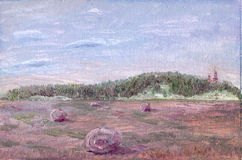 Oil painting of a field Royalty Free Stock Images