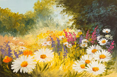 Oil Painting - field of daisies. colorfull art drawing. Background, wallpaper, tree, decoration Stock Photo