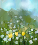 Oil painting field of yellow tulip and white daisy flowers Stock Photography