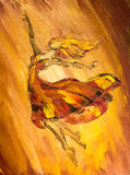 Oil painting, Fire ballerina Royalty Free Stock Image