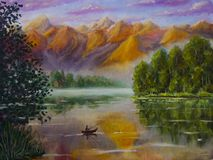 The fisherman in the boat is fishing. A calm lake. Reflection. Beautiful orange violet mountains. Green coast. Dawn. sunset. Peace. Oil painting fisherman in Stock Photo