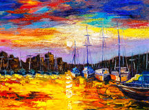 Oil Painting - Fishing Village Royalty Free Stock Photography