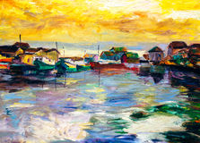 Oil Painting - Fishing Village Stock Images