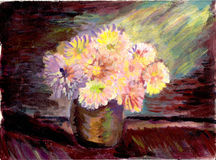 Oil painting flower stock photos