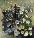 Oil painting flowers Royalty Free Stock Images