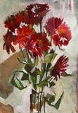 Oil painting flowers. Impression oil painting aster flowers