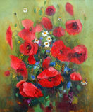 Oil painting of flowers. Stock Photos