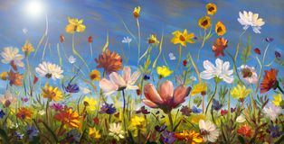 Original oil painting of flowers, beautiful looming field on canvas. Wildflowers on blue sky background. Modern Impressionism. Imp. Oil painting of flowers royalty free stock image