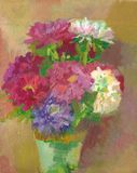 Oil painting - flowers stock image