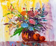 Oil painting flowers. Oil painting a bouquet of flowers . Impressionist style Royalty Free Stock Image