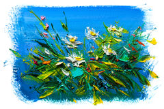 Oil painting flowers Royalty Free Stock Photography
