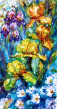 Oil painting. Flowers irises and a sprig of rose hips Royalty Free Stock Image