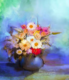 Oil painting flowers in vase. Hand paint  still life bouquet of White,Yellow and Orange Sunflower, Gerbera, Daisy flowers Royalty Free Stock Photo