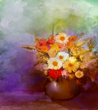 Oil painting flowers in vase Stock Photos