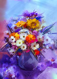 Oil painting flowers in vase. Royalty Free Stock Photo