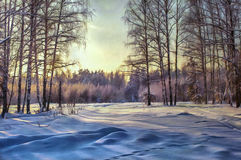 Oil painting forest landscape with winter. Sunset Royalty Free Stock Photos