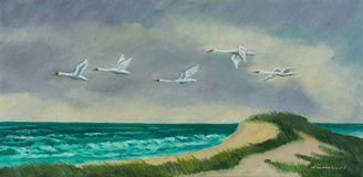 Four migratory birds fly on the coast above the sea royalty free illustration