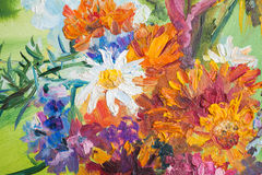 Oil painting fragment with summer bouquet Stock Photography