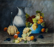 Oil painting fruit and wine Royalty Free Stock Photography