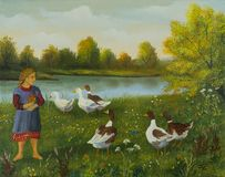 Girl watching ducks and geese at the lake stock illustration