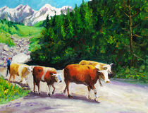 Oil Painting - Grazing Bull Stock Photography