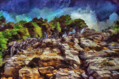 Oil painting green forest in the rocks. Oil painting green forest growing in the rocks Stock Photos