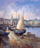Oil Painting - Harbor View Royalty Free Stock Images