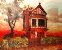 Oil Painting haunted house Royalty Free Stock Photography
