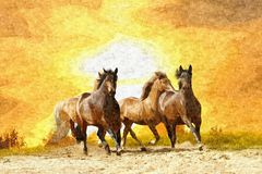 Oil painting horse royalty free illustration