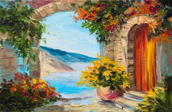 Oil painting - house near the sea, colorful flowers, summer. Seascape Royalty Free Stock Photography
