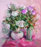 Oil Painting, Impressionism style, texture painting, flower still life painting art painted color image, wallpaper and background stock photo