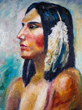 Oil Painting - Indian Lady Stock Photos