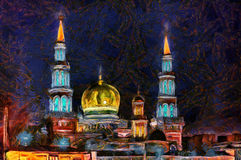 Oil painting Islamic temple after sunset in the city. Bright oil painting Islamic temple after sunset Royalty Free Stock Image