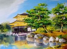 Oil painting - Japanese garden, lake near the Japanese home Royalty Free Stock Images