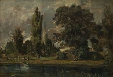 John Constable - Salisbury Cathedral and Leadenhall from the River Avon royalty free stock image